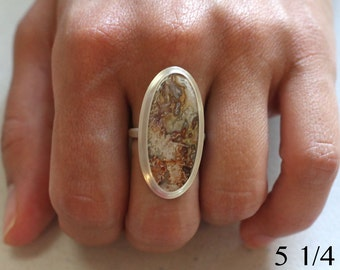 Crazy lace agate and sterling silver ring, size 5 1/4, #730.