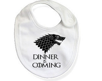 Game of Thrones Bib / Dinner is Coming Bib / Game of Thrones Inspired Baby Shower Gift / Newborn Game of Thrones / Game of Thrones Baby Bib