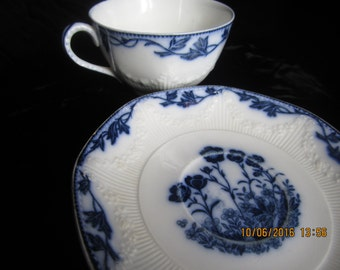 Vintage blue and white teacup, flow blue teacup and saucer