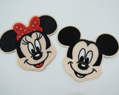 Set of 2pcs Mouse Patches - Iron on Patch or Sewing Patch Mickey Mouse Patch and Minnie Mouse Patch