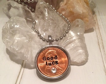 Lucky Penny Necklace, Good luck, Coin Jewelry, Custom Made, Hand Stamped Penny Necklace in Metal Bezel and Chain