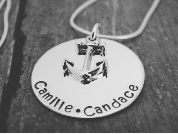 Anchor Name Necklace, Nautical, Name necklace, Sterling Silver Name Necklace, Custom Name plate, My anchors necklace, Navy Mom Necklace