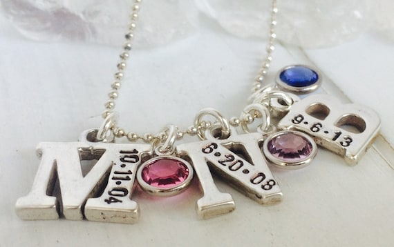 Initial Date Necklace, 3 Letters, Sterling Silver, Hand Stamped, Birthdate, Custom Made, Personalized Initial Necklace, Three Letter Charms
