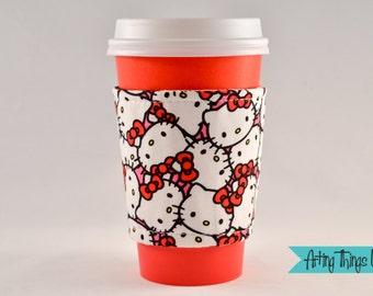 Reversible Coffee Cup Cozy - Hello Kitty - Starbucks Cuff/Sleeve
