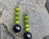 Funky green cat's eye earrings with faux grey pearls