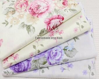 Shabby Chic Cotton Fabric, Flower Fabric Pink Purple Rose Peony Flower On Off White Cotton- 1/2 Yard