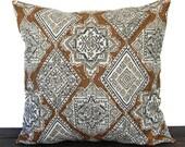 Pillow, Throw Pillow, Pillow Cover, Cushion, Decorative Pillow, Milan Caramel Brown Cream Gray traditional contemporary modern decor