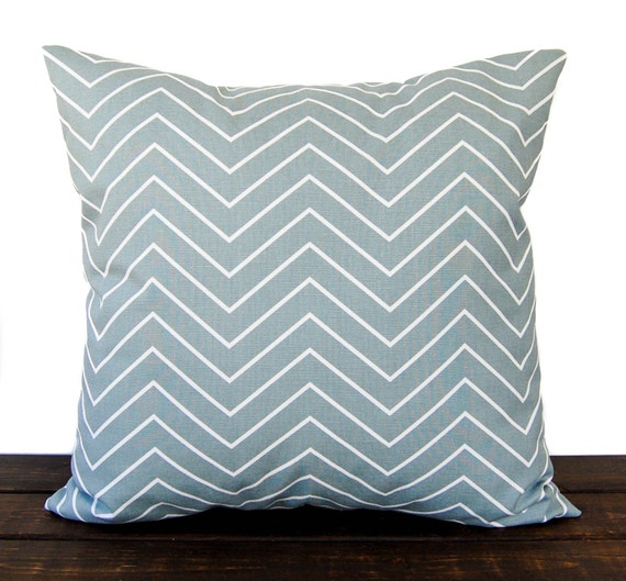 Light Blue Throw Pillow Covers : Items similar to Throw pillow cover Chevron Vintage light blue cushion cover traditional ...
