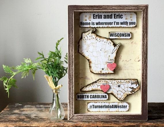Wedding Gift - Hashtag Sign - Engagement Gift - Anniversary Present - Wedding Gift - State Map - Framed Map Art - Man Gift -