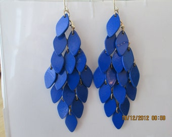 Dangle Earrings with Layered Royal Blue Disc Beads