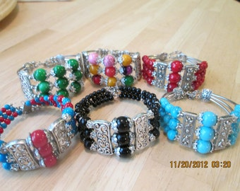 SALE 6 3 Row Cuff Bracelets to Ware, Share or Re-Sale