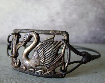 swan bracelet, vintage metal swan bangle bracelet, upcycled vintage, eco friendly, soldered jewelry, mixed metal bracelet, AnvilArtifacts