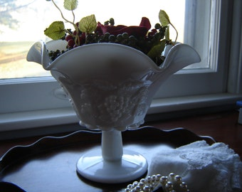 Vintage milkglass compote grape and ivy wedding table decor centerpiece party decor kitchen decor collectible