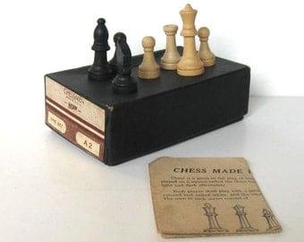 Vintage full set of Horn Chessmen, original box, board game, A2, gift idea