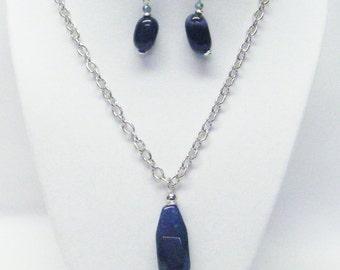 Large Slender Smoky Blue Agate Gemstone Pendant Necklace/Earrings