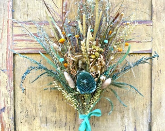 Dried Flower Wedding Bridal Bouquet Aqua Cerulean Cyan Blue Yellow Beige Sunflower Hydrangea Wheat Star Flower Meadow Grass Shabby Chic