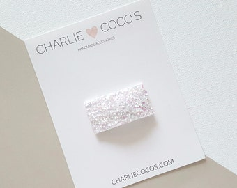 White Glitter Snap Hair Clip // Baby Girl Glitter Snap Hair Clip by charlie coco's
