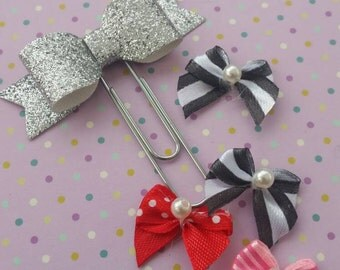 Gorgeous Glitter bow paperclip bookmark 50mm paperclip kitsch handmade gift