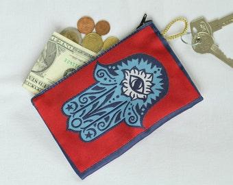 Fabric Wallet Women, Hamsa Hand, Hand Of Fatıma, Hamsa Design Wallet, Fatıma's Hand Purse, Purse, Hamsa Hand Purse