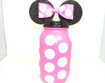 Minnie Mouse Bank, Disney Bank, Sparkle, Minnie Mouse Jar, Children's Bank, Mason Jar Bank, Disney Bank, Polka Dot Minnie Mouse,Disneyworld