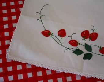 Vintage Strawberry Appliqued Table Runner