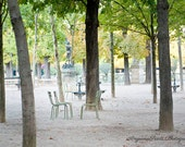 Paris travel photo, Luxembourg Garden print, Two chairs picture, Paris garden image mint green garden chairs photo garden trees gift for her