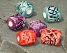 Dreadlock Beads, Dread Beads, Hair Accessories, Large Red Teal Purple Beads,  Macrame Beads, Ceramic Pottery Beads, Handmade Clay Beads