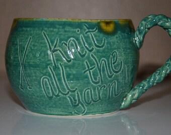 Teal mug - Knit all the yarn!!