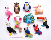 BIRDS Felt Magnets - Price per 1 item - make your own set - Flamingo,Eagle,Parrot,Owl,Pelican,Toucan,Peacock