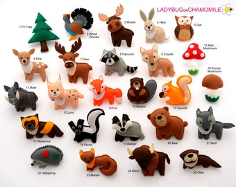 FOREST Animals, WOODLAND animals felt magnets - Price per 1 item,  Magnets, Ornaments, Toys,Forest animals ornaments,Fox,Wolf,Deer,Owl,Moose