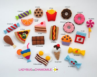 FOOD felt magnets - choose your items - Price per 1 item - make your own set - sweets magnets, felt cake, candies,felt pizza magnet,