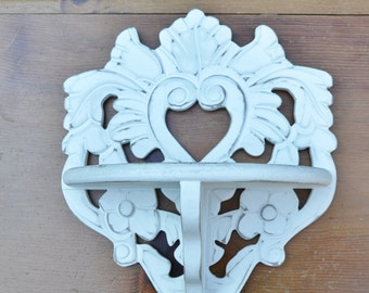 Painted Wooden Shelf Ornate Design White Distressed Shabby Boho Small Painted Furniture Upcycle Recycle Handmade LittlestSister