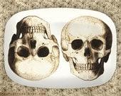 skulls in brown on melamine platter