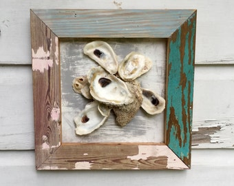 Framed Oyster Shell Wall Art/Beach House Seashell Art/Coastal Reclaimed Wood Art