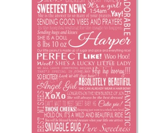 CUSTOM Wall Art,  Personalized Birthday Gift, Words of Love,