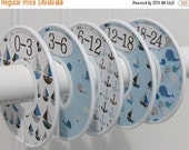 ON SALE 5 Custom Baby Closet Dividers, Closet Organizers, Baby Clothes Dividers, Baby Boy Nursery Gray Blue Brown, Boats and Whales Nautical