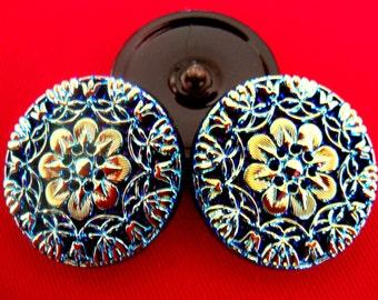 Czech  Glass  Buttons  2 pcs   Gorgeous    32mm  IVA NXL 016