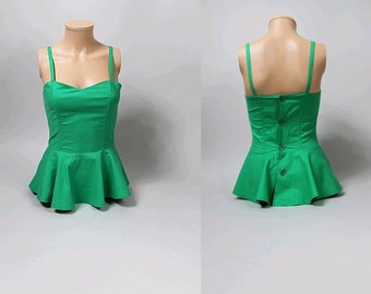 80s Paris green peplum corset  top  theme de Chofflet Paris green cotton us4 fr36