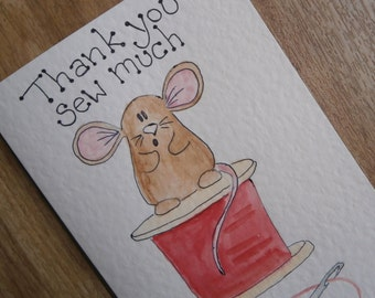 Thank you Sew Much. Individually handmade.Mouse card featuring a unique painting