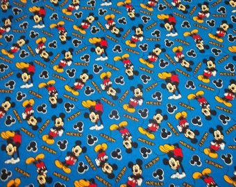 "MICKEY MOUSE  Toss On Blue  "" New Design ""   pattern 1/2  Yard - 100% Cotton Very Cute Fabric"