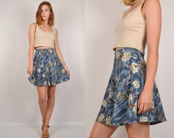 90's Floral High Waisted Mini Skirt