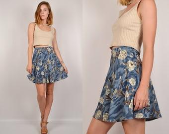 90s Floral High Waisted Mini Skirt