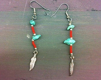Turquoise/Red Beaded Earrings