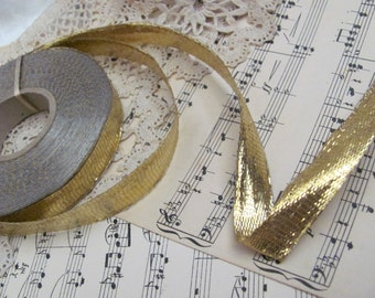"""Metal Ribbon Antique French Early Century Bright Gold Wired Metal Lame Ribbon 1/2"""" .5"""" Inch 15mm Wide ONE YARD"""