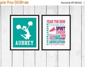 ONSALE Cheer Word Art Print 2 Piece Set-  Custom Colors and Sizes - Sports Nursery - Cheerleaders Print