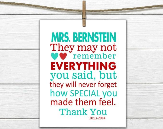 Teacher Appreciation Gift Print PDF Digital Download Personalized Teacher Gift