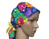 Ponytail Scrub Hat with ribbon ties - Colorful Cats & Dogs Ponytail Scrub Hat - Animals Ponytail