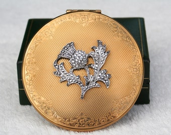FREE SHIPPING  Vintage KIGU Faux Marcasite Scottish Thistle Design Powder Compact Mirror Unused Condition 1950s