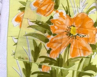 Vintage Vera Napkins, Vera Neumann, Orange Poppies on Yellow, Beautiful, Look New