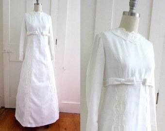 60s Empire Waist Wedding Dress - Soft Satin - Long Sleeve - High Neck - Modest Wedding Dress - Detachable Train - 1960s Wedding Gown